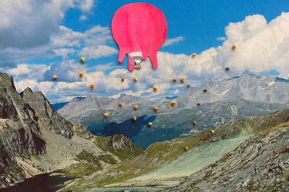 Collage of the Flying udder above Pass Lunghin, Switzerland.