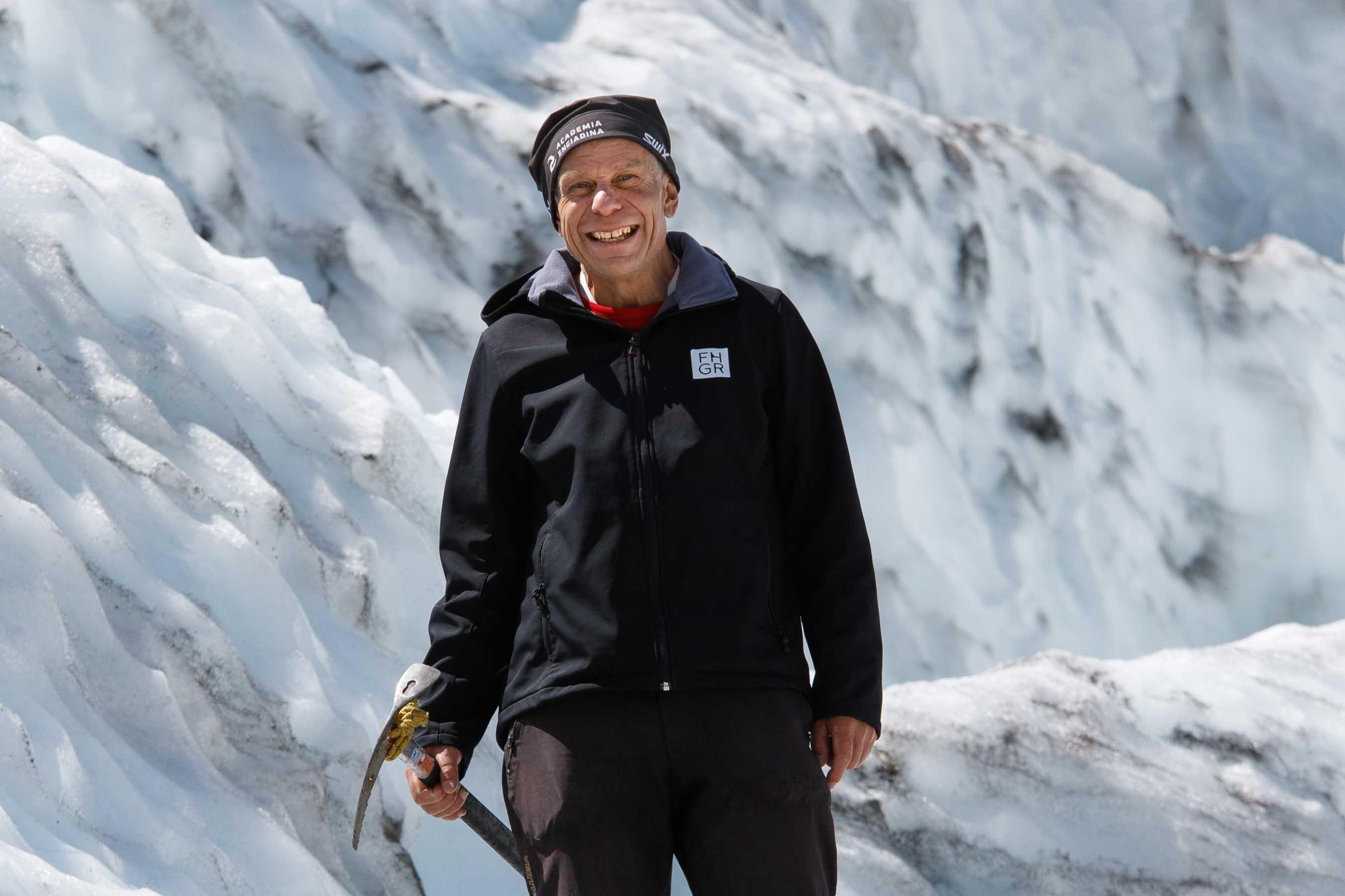 Glaciologist Felix Keller on the Morteratsch Glacier, Switzerland