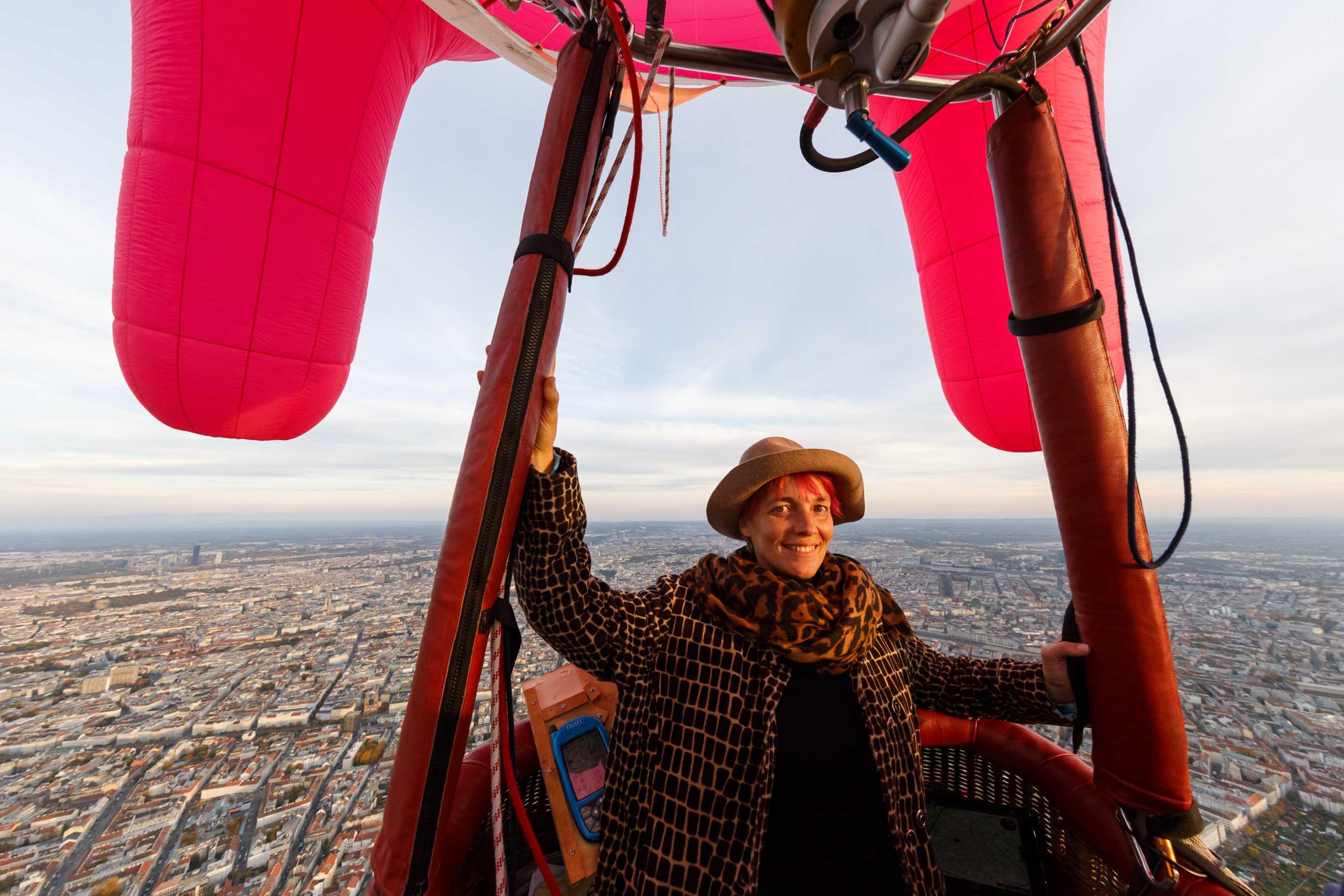 Barbara Anna Husar in her Flying Udder above Vienna